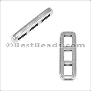 3mm flat TRIPLE THIN BAR slider ANT SILVER - per 10 pieces