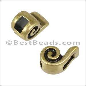 3mm flat SWIRL slider ANT BRASS - per 10 pieces
