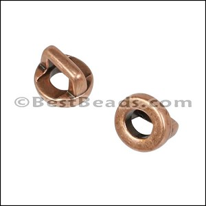 3mm flat ROUND FRAME slider ANT COPPER - per 10 pieces