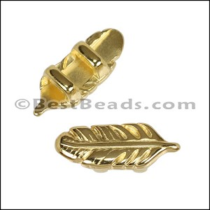 3mm flat FEATHER slider SHINY GOLD - per 10 pieces