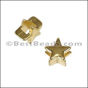 3mm flat STAR slider SHINY GOLD - per 10 pieces