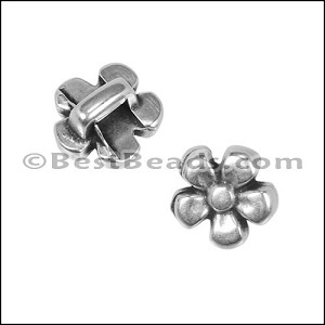3mm flat DAISY slider ANT SILVER - per 10 pieces