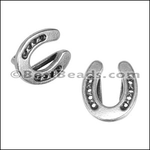 10mm flat HORSESHOE slider ANT SILVER - per 10 pieces