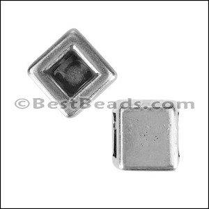 5mm flat REVERSIBLE SQUARE slider ANT SILVER - per 10 pieces