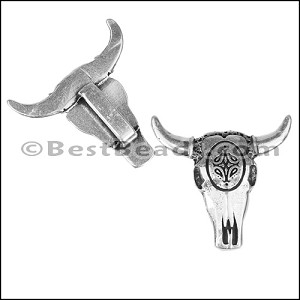 10mm flat DECO COW SKULL slider ANT SILVER - per 10 pieces