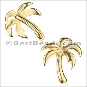 10mm flat PALM TREE slider GOLD - per 10 pieces