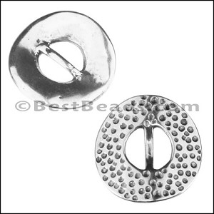 10mm flat DIMPLE DISC slider ANT SILVER - per 10 pieces