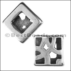 10mm flat DECO PAVER slider ANT SILVER - per 10 pieces