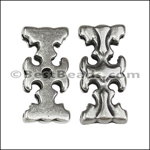 20mm flat GOTHIC CROSS slider ANT SILVER - per 10 pieces