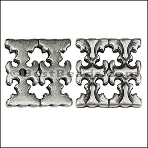 20mm flat GOTHIC DOUBLE CROSS slider ANT SILVER - per 10 pieces