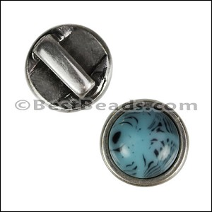 5mm flat TURQUOISE ROUND RESIN slider ANTIQUE SILVER - per 10 pieces