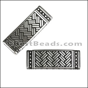 10mm flat WEAVED RECTANGLE slider ANTIQUE SILVER - per 10 pieces