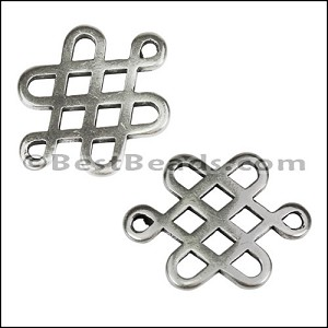 2mm round CHINESE KNOT slider ANTIQUE SILVER - per 10 pieces
