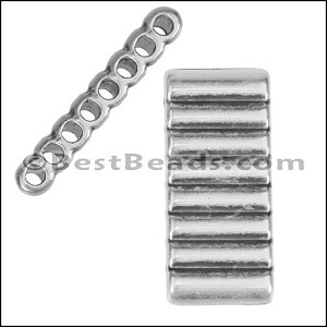 2mm round RIDGED EIGHT HOLE slider ANTIQUE SILVER - per 10 pieces