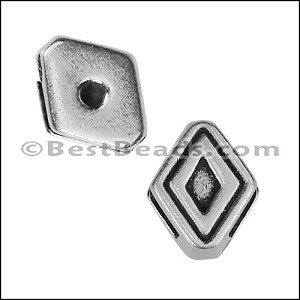 6mm flat TRACED DIAMOND slider ANT SILVER - per 10 pieces