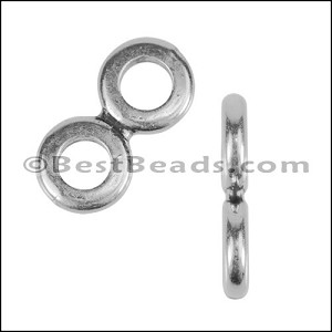 4.5mm round THIN TWO HOLE slider ANT SILVER - per 10 pieces