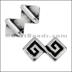 5mm flat DOUBLE MEANDER slider ANT SILVER - per 10 pieces