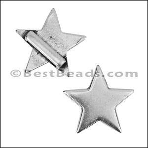 10mm flat CLASSIC STAR slider ANT SILVER - per 10 pieces