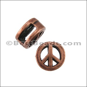 5mm flat PEACE SIGN slider ANT COPPER - per 10 pieces