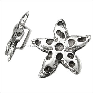 5mm flat STARFISH slider ANT SILVER - per 10 pieces