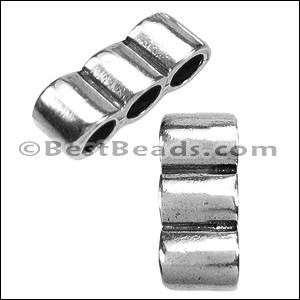 5mm round TRIPLE slider ANT SILVER - per 10 pieces