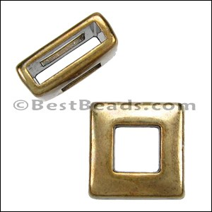10mm flat SQUARE FRAME slider ANT BRASS - per 10 pieces