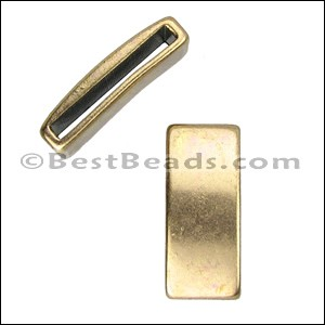 15mm flat PLAIN BAR slider ANT BRASS - per 10 pieces