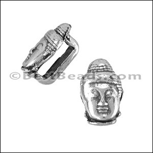5mm flat BUDDHA slider ANT SILVER - per 10 pieces