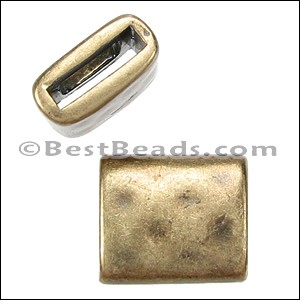 10mm flat HAMMERED RECTANGLE slider ANT BRASS - per 10 pieces