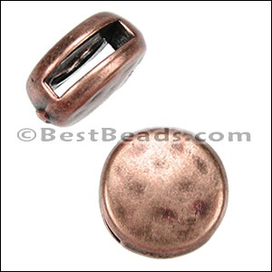 10mm flat HAMMERED ROUND slider ANT COPPER - per 10 pieces