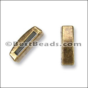 13mm flat THIN BAR slider ANT BRASS - per 10 pieces