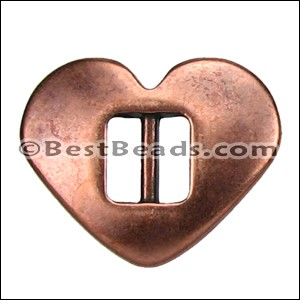 5mm flat HEART CINCH slider ANT COPPER - per 10 pieces