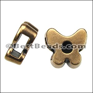 5mm flat SMALL BUTTERFLY slider ANT BRASS - per 10 pieces