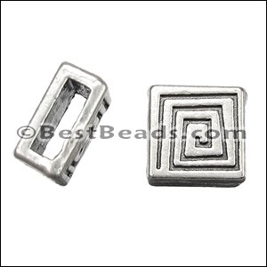 5mm flat SQUARE COIL slider ANT SILVER - per 10 pieces