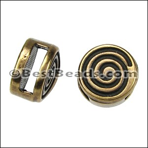 5mm flat CIRCLE COIL slider ANT BRASS - per 10 pieces