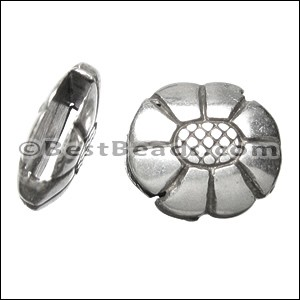 10mm flat OVAL FLOWER slider ANT SILVER - per 10 pieces