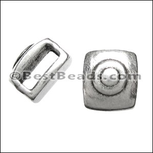 5mm flat SQUARE TARGET slider ANT SILVER - per 10 pieces
