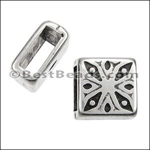 5mm PATTERN SQUARE slider ANT SILVER - per 10 pieces