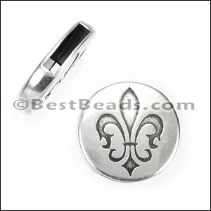 10mm flat FLEUR-DE-LIS CIRCLE slider ANT SILVER - per 10 pieces