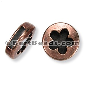 10mm flat FLOWER CIRCLE slider ANT COPPER - per 10 pieces