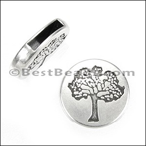 10mm flat TREE OF LIFE CIRCLE slider ANT SILVER - per 10 pieces