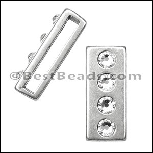20mm flat 4 CRYSTAL BAR slider ANT SILVER - per 10 pieces