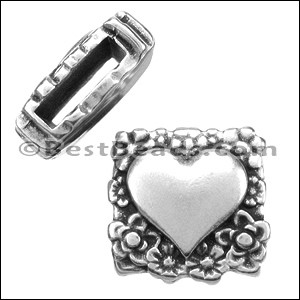 10mm flat FANCY HEART slider ANT SILVER - per 10 pieces