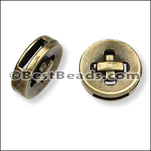 10mm flat BUTTON slider ANT BRASS - per 10 pieces