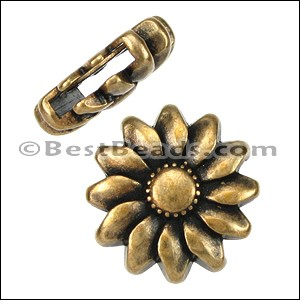 10mm flat SUNFLOWER slider ANT BRASS - per 10 pieces