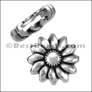 10mm flat SUNFLOWER slider ANT SILVER - per 10 pieces