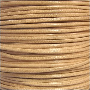 1mm round KANGAROO leather NATURAL - per 25m SPOOL