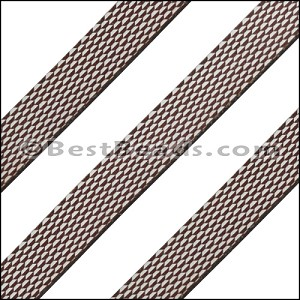 15mm Flat LASER ETCHED Leather Style 2 ANT. SILVER - per strip