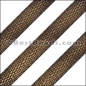 15mm Flat LASER ETCHED Leather Style 3 MET. BROWN - per strip