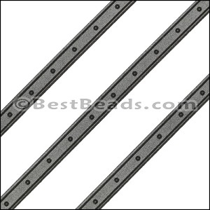 6mm Flat LASER ETCHED Leather Style 4 GUNMETAL - per strip